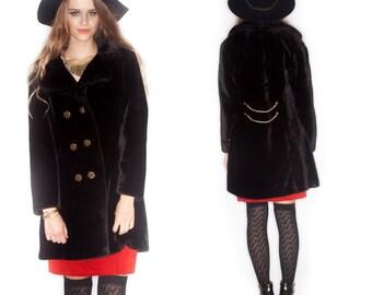 Vintage Fur Gold Chain Coat// Thigh Length// Dark Brown// Size M/L