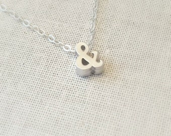 Silver Ampersand Necklace, Sterling Silver Necklace, Ampersand Charm/Pendant, & Necklace,Birthday Gift, Everyday Necklace, Dainty Necklace