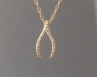 Gold Wishbone Pave Crystal Necklace also in Silver and Rose Gold