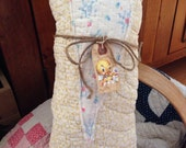 Primitive Spring or Easter Heart pillow tuck~ Easter Chick~prim decor~ Cottage Chic~pastels~Vintage Quilts~ Happy Easter