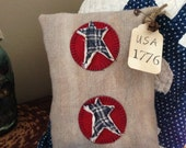 USA 1776~ Primitive Pillow Tuck~ Hand dyed wool~ vintage quilt stars~ Prim Americana Decor~ Fourth of July