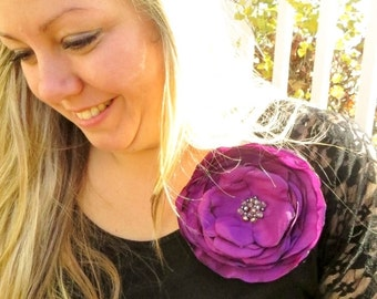Extra Large Silk Flower Pin, Large Purple Flower Brooch, xl Purple Fabric Flower Brooch Pin on Flower fuchsia, Floral Pins for Dress, Broach
