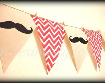 Mustache Banner -Little Man Party-Baby Shower banner-Moustache banner- Party Banner -Coral Chevron-little man-Mustache party-boy birthday