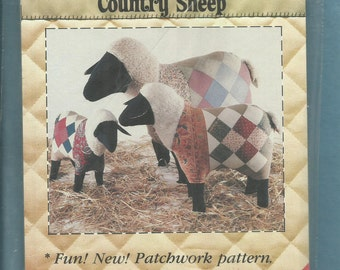 Vintage 1983 Patch Press 372C Country Sheep Stuffed Barnyard Animals with Quilted Bodies  UNCUT