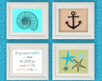 Set of Four Printable Wall Decor Bathroom Art Print Decoration Blue Sea Shell Anchor Starfish Poster Instant Download 8x10 Count the Waves