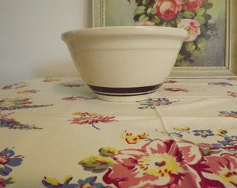 "Retro McCoy Oven Ware Mixing Bowl 10"" Ecru Bowl With Brown Stripes Kitchen Decor Circa 1958"