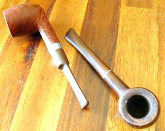 Pair of Handsome Mid Century Wood Pipes--Brewster Imported Briar Pipe (Italy)--Dr. Grabow Regal Imported Briar Smoking Pipe