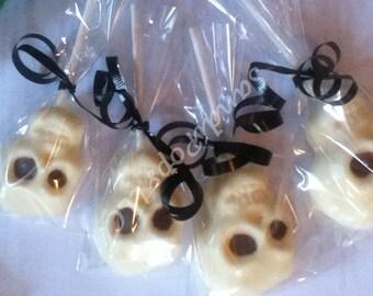 24 skull chocolate lollipops