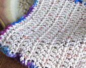 Crocheted Cotton Dishcloth - Blue & Purple Trimmed Off-White Dishcloth - Crocheted Dishcloth