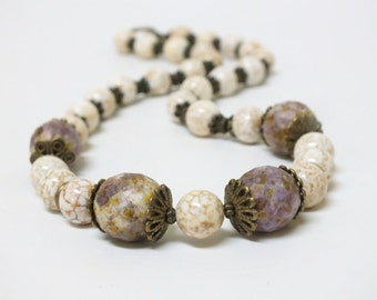Baroque Necklace of White Natural Howlite with Large Chunky Lavender gold beads
