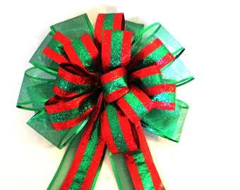 Green and Red Bow, Christmas Bow, Tree Topper Bow