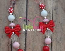 Valentines Day Pink Princess Sweetheart Red White Bow Chunky Bubblegum Bead Necklace - Photo Prop Newborns, Toddlers, Girls, Babies