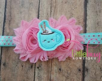 Winter Christmas Hot Cocoa Felt on Pink Shabby Rose Flowers - Aqua Pink Metallic Polka Dot Headband for Newborns, Toddlers, Girls, Teens