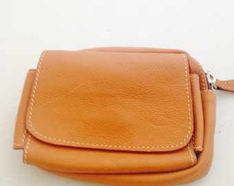 Brown leather pocket attachment