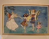 Original 1919,Antique,Victorian fairies watercolour painting-signed Sheila Pyhillis Warren,April 1919,Gallery framed