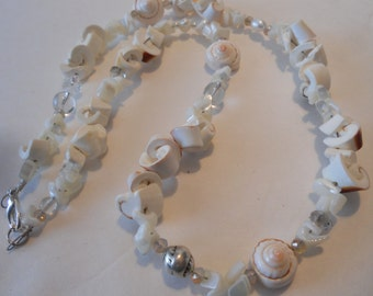 Sea Shell, Mother of Pearl and Crystal Handmade Necklace