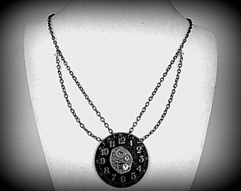 Necklace made of vintage watch movement and decorative pocket watch