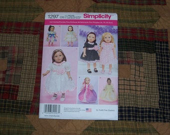 American Girl Doll Clothing Patterns...Simplicity #1297..18 Inch Doll Patterns...Beautiful Dresses....Cute Patterns......