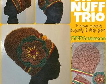 SHO' NUFF Trio Head Covering - headwrap crochet flower band purple gold dreadlock african rasta bohemian