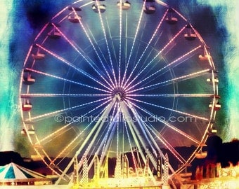 Surreal Fantasy Magical Ferris Wheel Ride Night Time Carnival Ride Square Fine Art Photography Print or Gallery Canvas Wrap Giclee