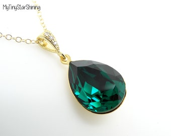 Gold Emerald Necklace Swarovski Crystal Necklace Bridesmaid Gift Emerald Green Jewelry Green Necklace GreenGold filled Necklace