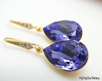 Purple Earrings Swarovski Crystal Tanzanite Jewelry Bridal Earrings Teardrop Earrings Jewelry Bridesmaid Gift Bridal Earrings