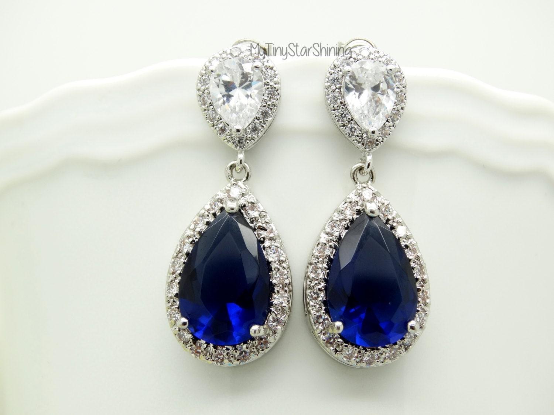Navy Blue Earrings Royal Blue Earrings Dark By