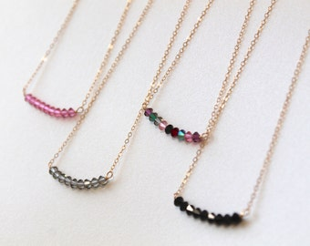 Custom crystal necklace - pick your color & gold or silver chain - bicone swarovski crystals - modern minimalist jewelry by fildee