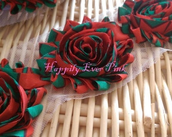 1 YD., Christmas Magic Shabby Flowers, Shabby Flower Trim, Christmas,Chiffon Rosettes, Headband Flower, Wholesale, Fraying Rosettes