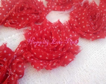 1 YaRd, Red and White Polka Dot Shabby Flower Trim, Wholesale Flowers, DIY, Chiffon Rosettes, Boutique Flowers, Christmas, LIMITED EDITION