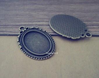 10pcs  antique bronze 18mmx25mm Oval pendant tray Base