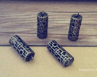 2pcs antique bronze Hollow out ( copper )  cylinder pendant 10mmx28mm