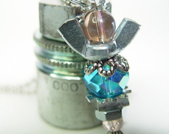 ROAD ANGEL - Reflective Baby Blue, Baby Pink & Silver Wingnut Rear View Mirror Angel Charm