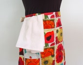 Daisy and Poppy Flower Bistro Apron, Half Apron with Pockets and Towel Loop in Red, Pink, Orange, Green , Always Blooming, Vendor Apron