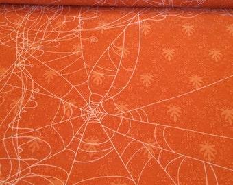 """Witch Hazel Spider Web fabric in Orange - 25"""" piece"""