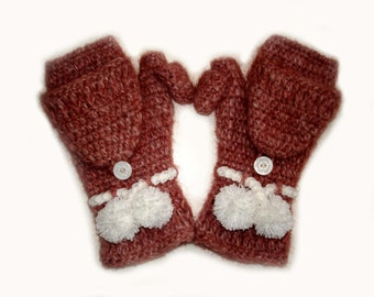 Convertible mittens, gloves, arm warmers, red crochet pom pom mittens