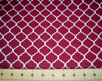 Full Yard -  Crimson Red Maroon Burgundy and White Quatrefoil Fabric By The Yard - One Yard Cut Red Quatrefoil Pattern Print Cotton Fabric