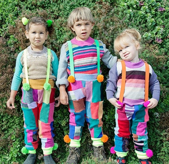 TIZZIE 2-3 Years Kids Childrens Cashmere Patchwork Dungarees Pants Overalls Onesie Jumper One Piece Upcycled Wool Unisex