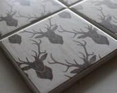 Deer Buck Coasters Four Piece Ceramic Tile Set