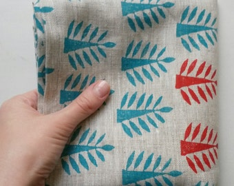 Trees blockprint handmade kitchen towel