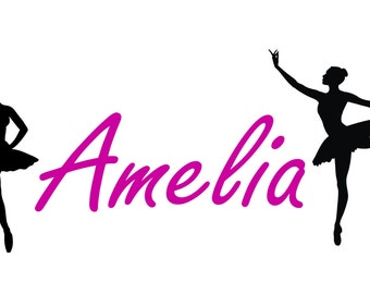 Ballerina Dance Personalized custom Name vinyl decal wall art decor removable dancer bedroom decal