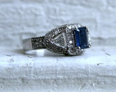 Vintage Three Stone Diamond and Sapphire Halo Engagement Ring in 14K White Gold - 2.48ct.