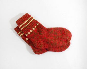 Knitted Wool Socks - Red, Green, Size Small