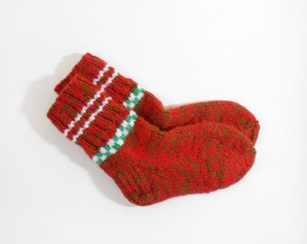 Knitted Wool Socks for Teens - Red, Green, Size Very Small