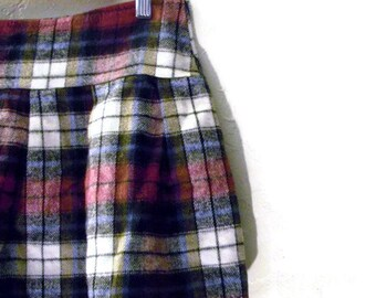 School Girl Style Pleated Mini Skirt Eco Blue Black Gray Maroon Plaid Pleated Mini Skirt S/M