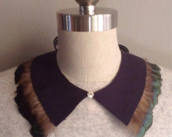 Navy Neoprene and Feather Collar Necklace