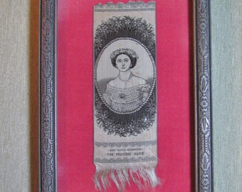 Antique Stevengraph bookmark picturing Princess Alice, c.1961 British royalty collectible, framed woven silk picture