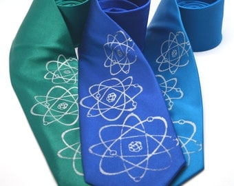 Three Atoms Silkscreen Necktie. Microfiber screen printed science tie.