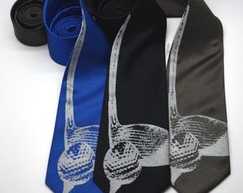 Golf silkscreen neckties. Microfiber screen printed golfing tie.