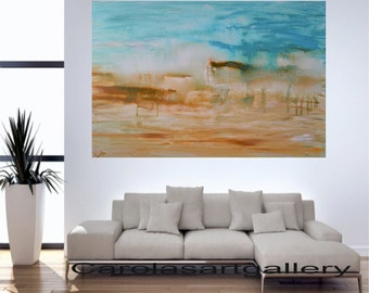 "Original Abstract Painting  Landscape Painting Modern Art Acrylic Painting  Handmade by Carola, 36""x24"""